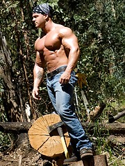 Big muscled dude outdoors