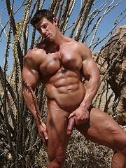 Musculed men Zeb posing outdoors