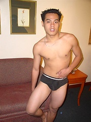 Stud from Asia plays with own body