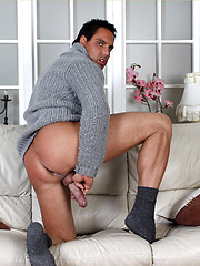 Gorgeous Marcello strips out of his jeans and plays with his big dick