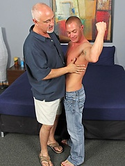 Pervert grandpa Jake servicing young stud