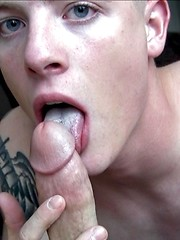 Straight army boy sucks his first dick