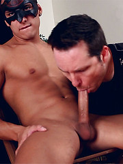 Straight guy in mask get serviced by cock-hungry man