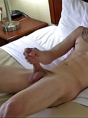 Dark-haired str8 boy Max jerking off gis huge penis