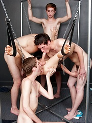 Twinks foursome sucking orgy