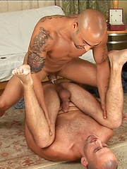 Two bald daddies love to fuck each other holes