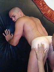 Black daddy on stunning bald gay man