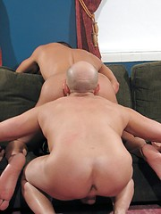 Couple of sexy daddies in hard anal bareback adventure