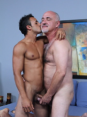 Mature gay Jake sucks daddys dick and the gets it deeper