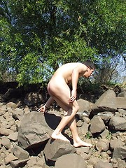 Sweet latino twink guy on a river side naked plays