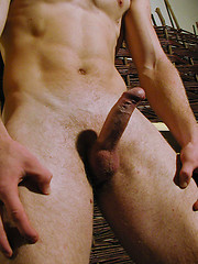 Straight blonde stud stroking hard uncut dick