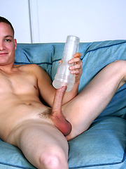 Straight guy stroking with flashjeck