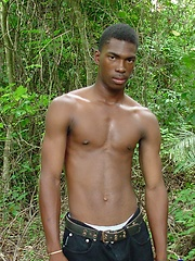 African stud jerking off his cock in the woods