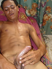 Hung afro twink jacking off cock
