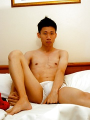 Gay asian boy has a lot of cum in those balls