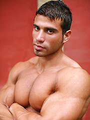 Naked latin guy Gustavo Levu showing his big muscled body