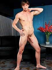 Straight guy showing his curved cock