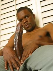 Ebony man exposes his really big black cock