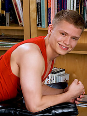 Twink boy undress his clothes in the library