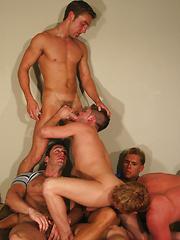 Five hot studs in orgy