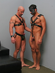 Guys in leather clothes have anal sex