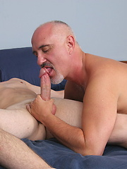 White-haired Jake have a nice anal sex with younger gay