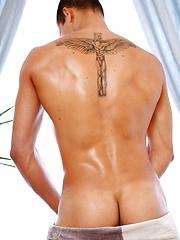 Cute european jock shows his abs and long cock
