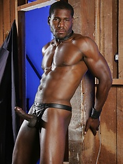 Black leather gay relaxin before the camera