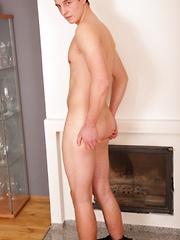 Cute college boy Michael Haze spews big load of cum.