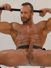 Naked police gay demonstrating his muscle body