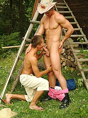 Two gay boys have outdoor oral and anal sex
