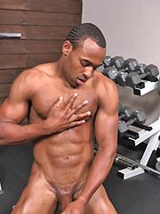 Beefy black guy workout session