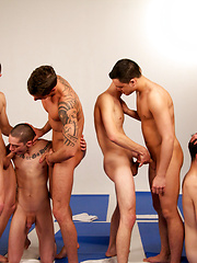 Group of sexy gays have orgy after yoga training