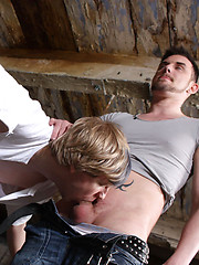 Foreign boy Luke Winters finds himself strapped up between two posts