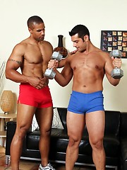 Marcus drops to his knees and returns the favor by stuffing his mouth full of Roberts cock
