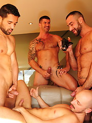 Muscled gay studs have wild anal and oral orgy