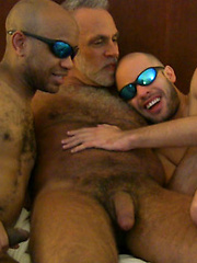 Two guys serviced silver daddy Xavier Brady