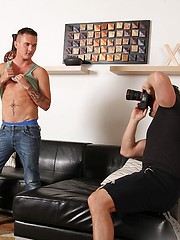Brenden Cages shirt comes off and Brody drops to his knees and sucks his cock