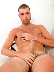 Amateur guy model Michael Zac cumming on his hairy stomach
