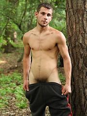 Straight european guy posing in the woods
