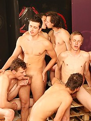 Hot euro boys in wild groupsex scene