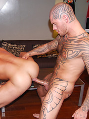 Ffully-tatted Logan McCree in bed with his friend Damien Crosse