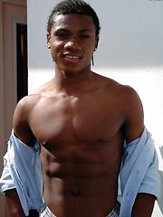 Handsome black boy Jerome shows off his assets