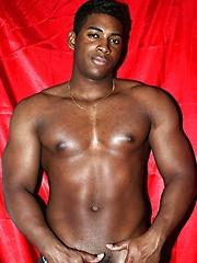 Beefy ebony man solo posing
