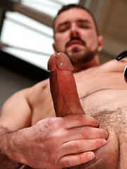 Jake Driver drops his pants and unleashes ten thick inches of meaty, hard cock