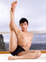 Helix hot new model Jamie Sanders is at home practicing some yoga