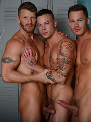 In this scene, Tate Ryder, Jeremy Stevens and Sean Duran have an intense three-way