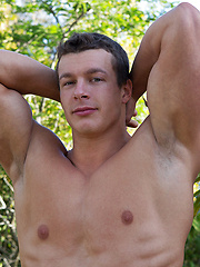 Beefy guy Cameron in the gym