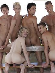 6 Horny Twinks & Studs Dish Up A Spunktastic Bareback Poolside Orgy!