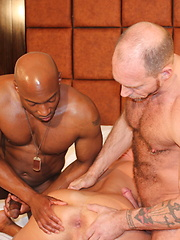 Champ Robinson, in a group bareback scene with Randy Harden and Austin Dallas